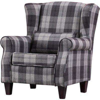 Linen Wingback Chair Checked Pattern - Grey