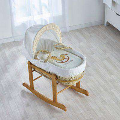 Little Rocker Cream Moses Basket with Natural Little Gem Rocking Stand