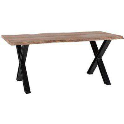 Live Edge Large Dining Table with Cross Metal Legs - Light Wood
