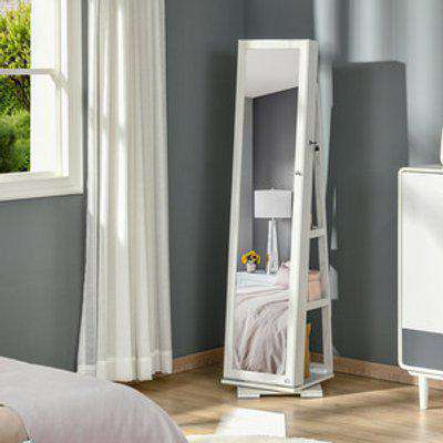 Lockable Jewellery Armoire with Mirror - White