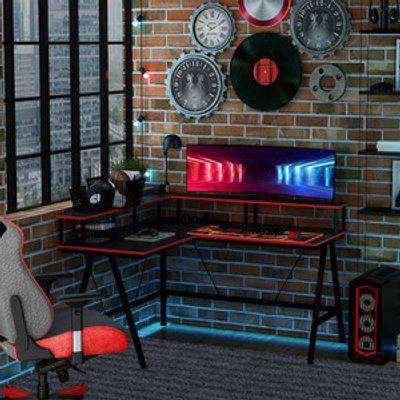 L-Shape Gaming Corner Desk with Elevated Monitor Shelf - Black