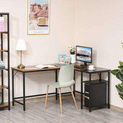 L-Shaped Computer Desk with Adjustable Storage Shelf - Brown and black