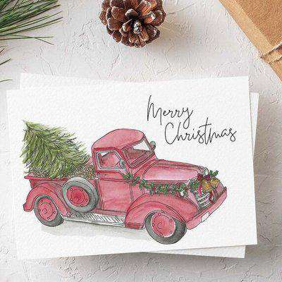 Luxury Christmas card - The Vintage Truck Set of 4 - Red