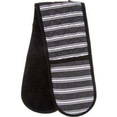 Luxury Stripes Double Oven Glove - Black