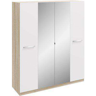 Malmo Mirrored Wardrobe - White/Oak / 4 Door Wardrobe Mirrored