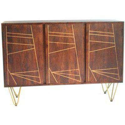 Toko Dark Mango Wood 3 Door Large Sideboard - Dark Wood