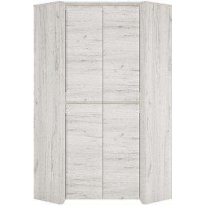 Marbel Corner Fitted Wardrobe - White Craft Oak