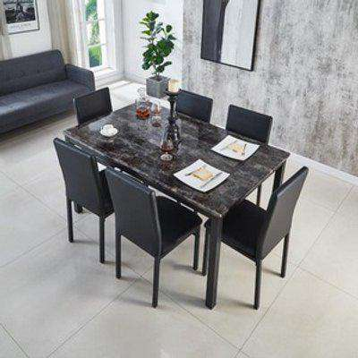 MDF Black Marble Effect Dining Table with 4 Chairs - Black