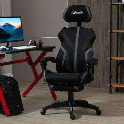Mesh Office Chair Desk Swivel Task Recliner with Footrest, Lumbar Support - Black