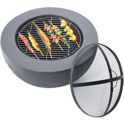 Metal Round Fire Pit for Outdoor - Grey