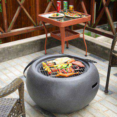 Metal Round Outdoor Fire Pit - Grey
