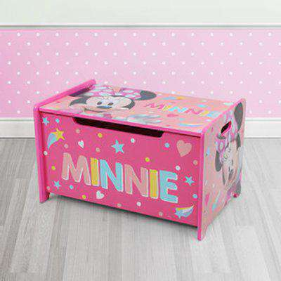 Minnie Mouse Deluxe Wooden Toy Box Bench - pink