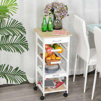 Mobile Rolling Kitchen Island Trolley with Metal Baskets - White and brown