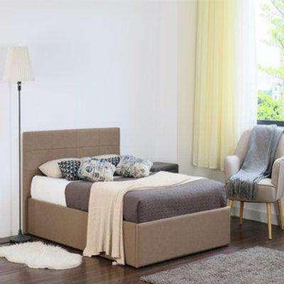 Mocha Fabric Gas Lift Ottoman Bed - Single