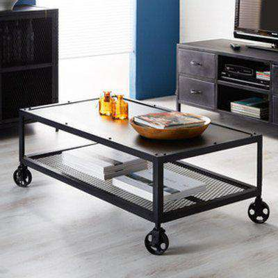 Modern Henry Dark Reclaimed Metal Coffee Table with Shelf - Black