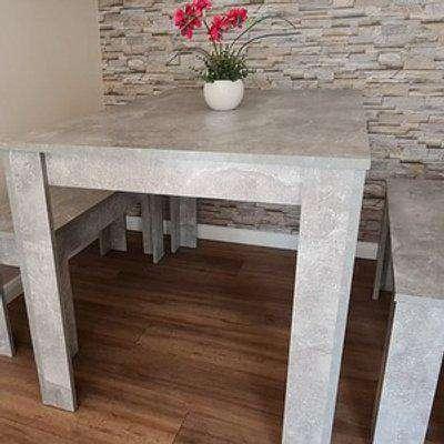 Kosy Koala Stone Grey Dining Table With 2 Benches Furniture Set - Stone Grey