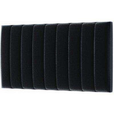 Modern Upholstered Velvet Headboard - Black / Double