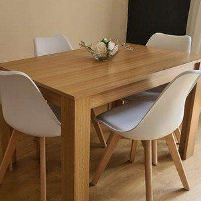 Modern Wooden Oak Dining Table with 4 White Tulip Chairs
