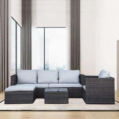 Modular Corner Rattan Sofa - Brown