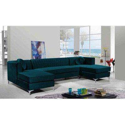 Nearla Fixed Back Fluted Large U Shape Sofa - Emerald