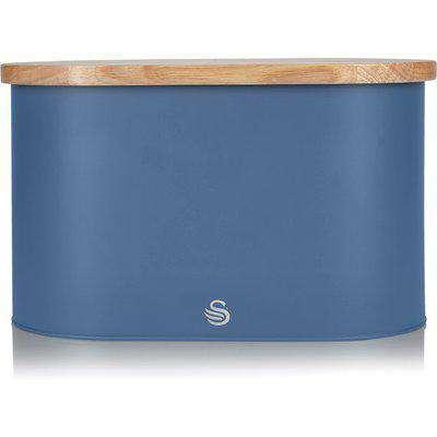 Nordic Oval Bread Bin with Cutting Board Lid - Nordic Blue
