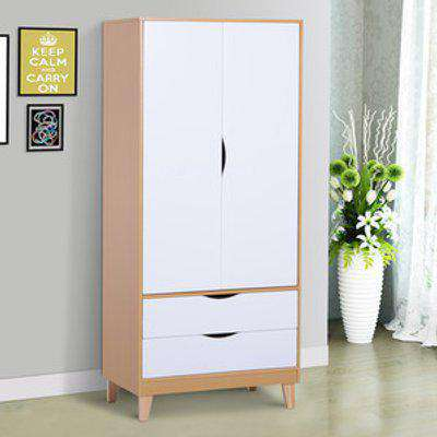 Nordic Style Wooden Wardrobe with 2 Drawers - Natural wood colour and white