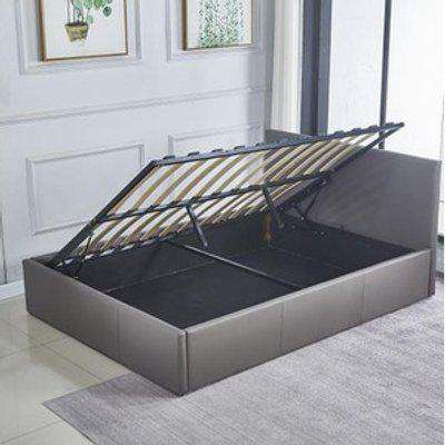 Ottoman Storage Grey Leather Side Lift Bed Single Double  - Grey / Double