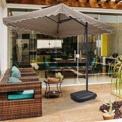 Outdoor Cantilever Parasol with Wheel Base - Khaki