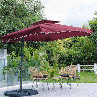 Outdoor Cantilever Parasol with Base - Wine Red
