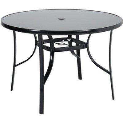 Outdoor Coffee Table With Umbrella Hole - Black / Round