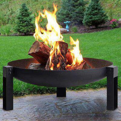 Outdoor Corten Steel Fire Pits Bowl Shape Burner Bonfire Heater - Black / 30cm / 70cm