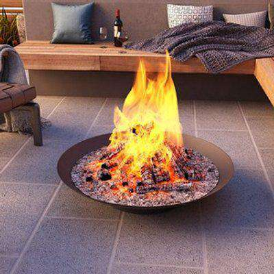 Outdoor Fire Pit Bowl Round Base - Black / 100cm
