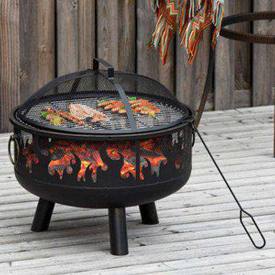 61.5cm 2 In 1 Outdoor Fire Pit & Firewood BBQ - Black