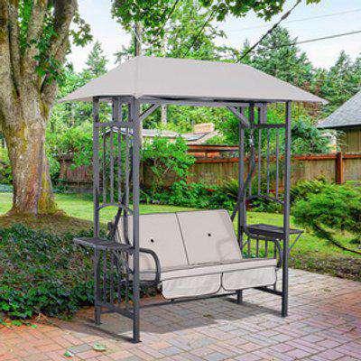 Outdoor Garden 2 Seater Canopy Swing Chair  - Beige