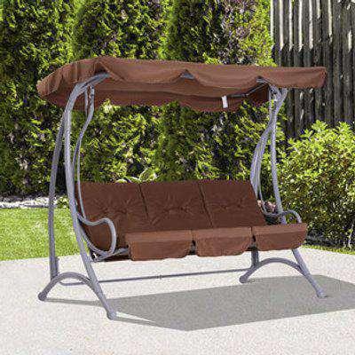 3 Seater Outdoor Garden Patio Metal Swing Chair - Coffee