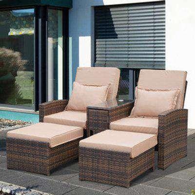 Outdoor Garden Rattan Sofa Lounger - Mixed brown with cream cushion and pillow