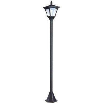 Outdoor Garden Solar Light with Base Post Lamp - Black