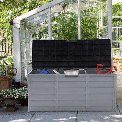 Outdoor Garden Storage Box with Wheels, 290L - Black