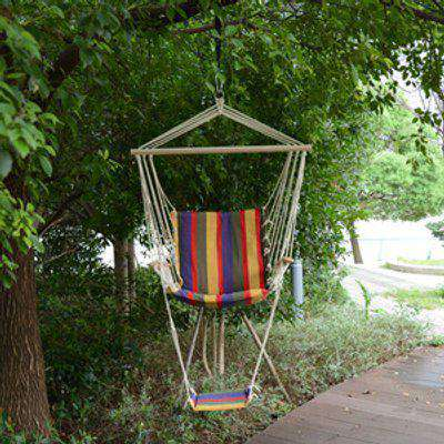Outdoor Hanging Rope Wooden Swing Chair  - Red