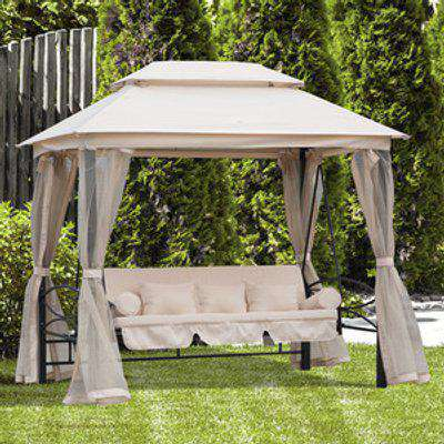 Outdoor 2-in-1 Convertible Swing Chair Bed  -  Cream White