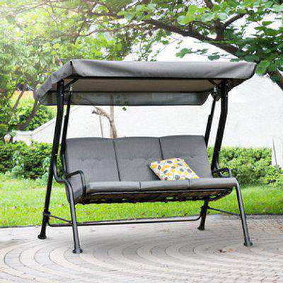 Outdoor 3-Person Metal Porch Swing Chair - Grey and Black