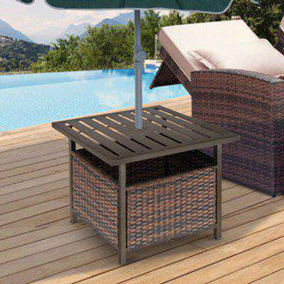 Outdoor Rattan Wicker Coffee Table With Umbrella Hole - Brown