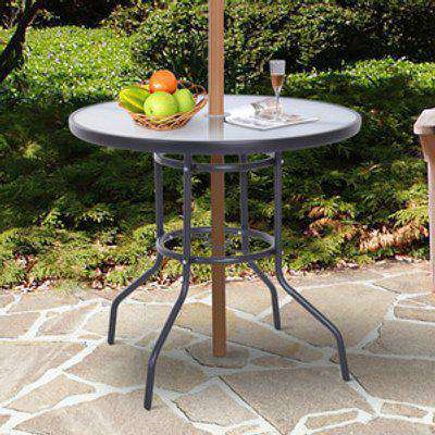 Outdoor Round Dining Table Tempered Glass Top - Black