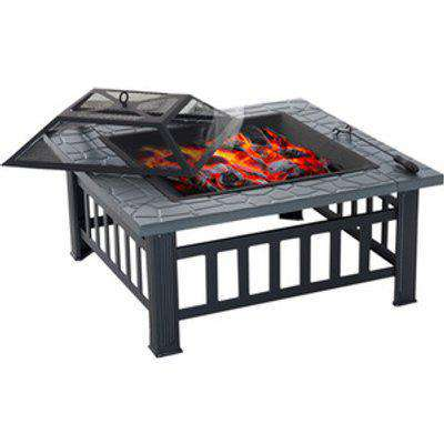 Outdoor Wood Burning BBQ Grill with Mesh Cover - Black