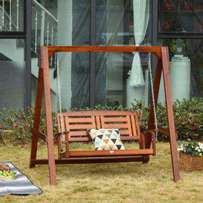 Outdoor 2 Seater Wooden Swing Chair  - Teak