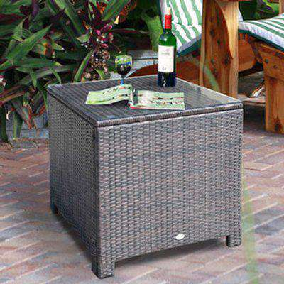 Outsunny Rattan Garden Furniture Side Table - Mixed Brown