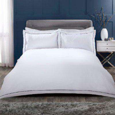 Oxford Stitch Trim 200 Thread Count Duvet Cover and Pillowcase Set - Navy / Double