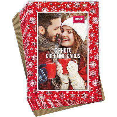 """Pack of 6 Photo Christmas Cards 4x6"""" Red Snowflake - Red"""