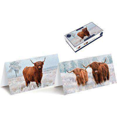 Pack of 20 Tom Smith Slim Highland Cows Christmas Cards