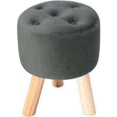 Padded Soft Round footstool - Grey